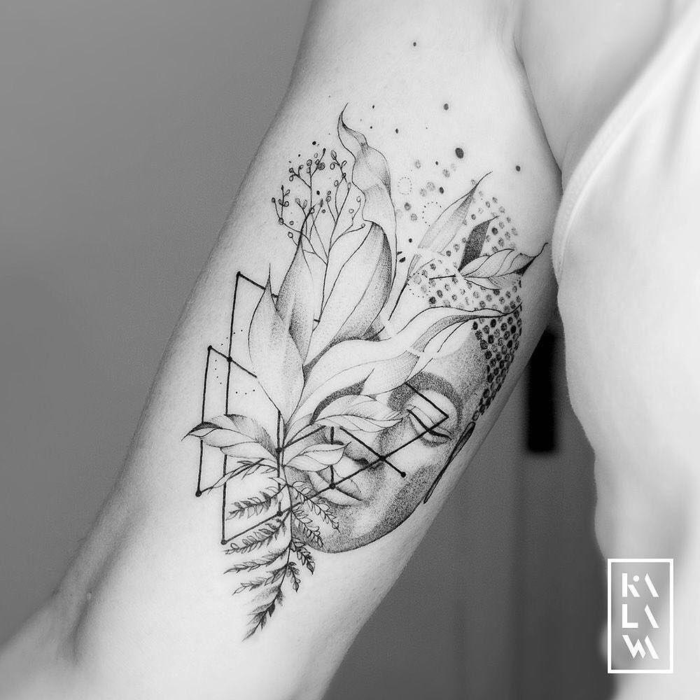 "Photo of KALAWA Tattooer on Instagram: ""#graphic #bouddha with #flowers project. Thx a lot Karine! ⠀ ✖️Follow my studio @ karbone.studio ✖️⠀ ⠀ ******* ⠀ ⠀ #dotwork # finework… """