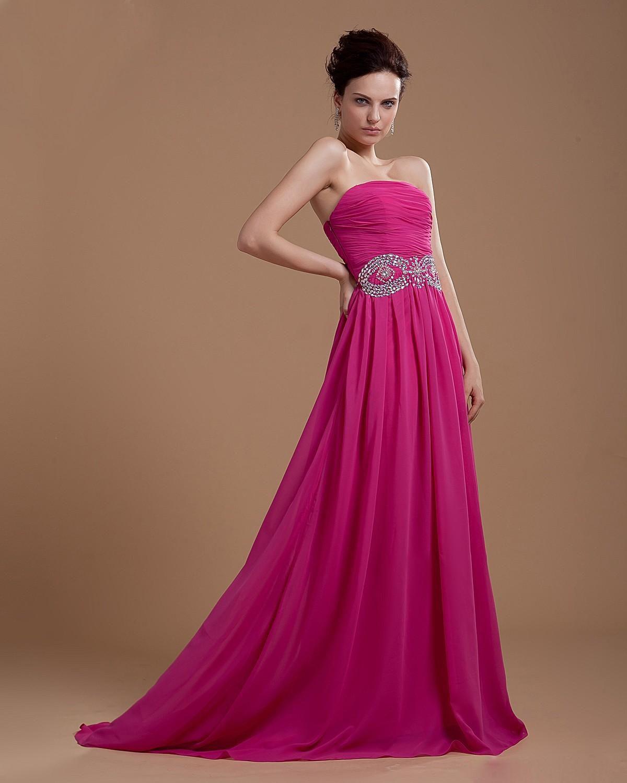 Strapless Floor Length Chiffon Evening Dress With Beaded Waistline ...