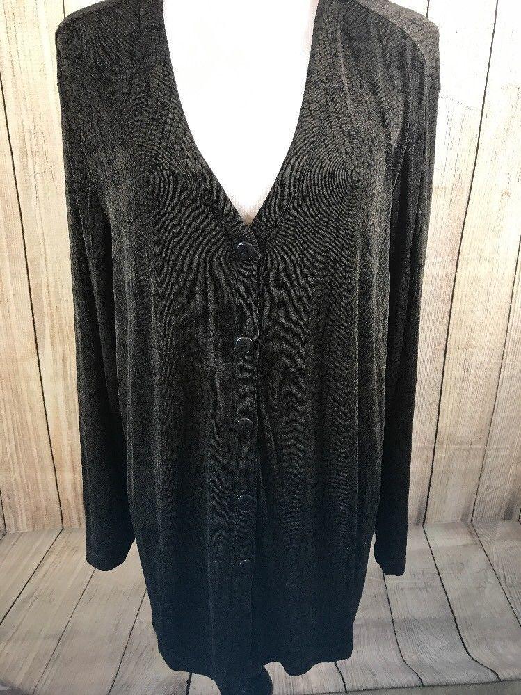 Carole Little Womans Jacket Blazer Cardigan Plus 2X Brown Black Animal  Print  d449d75af