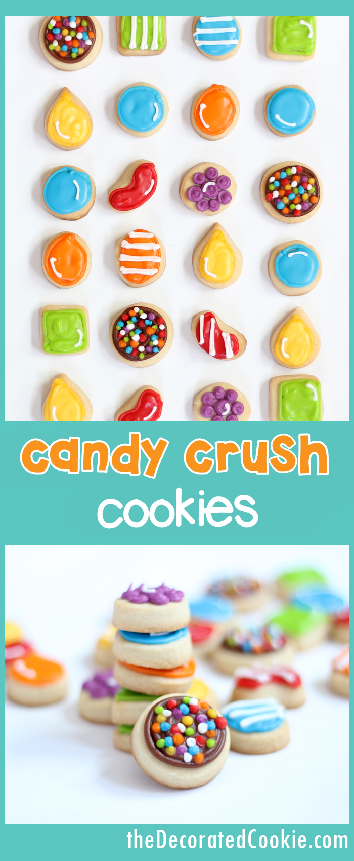 how to decorate CANDY CRUSH cookies -- video games fun food
