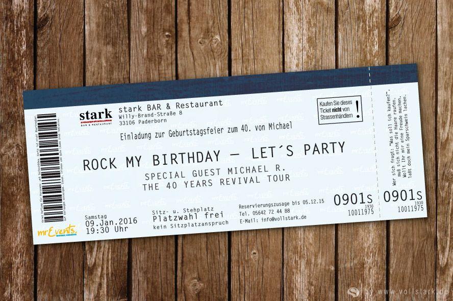 Konzertkarte als Einladungskarte – Rock my Birthday ...
