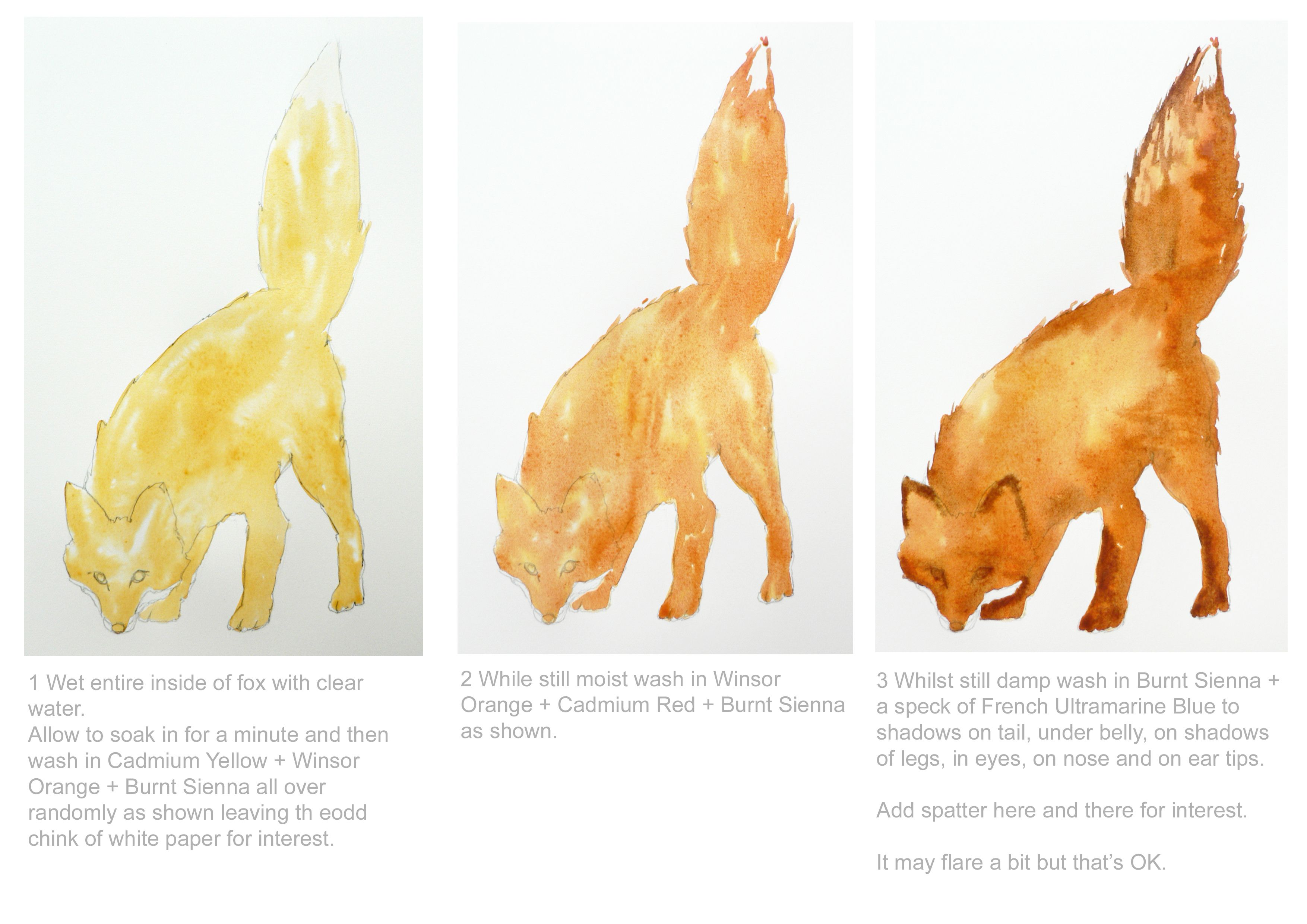 How To Paint A Simple Fox In Watercolor Part 1 Of 2 With