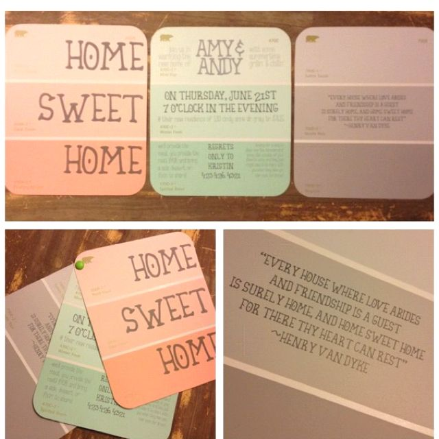 DIY Paint chip house warming invitations Home sweet home So cute