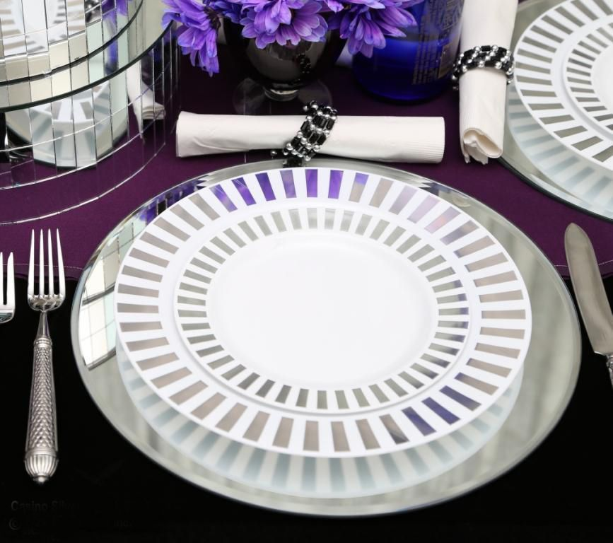 Wholesale Event Solutions - Case of 100 Casino Premium Disposable Dinner Plates with Silver Rim 10.5 & Wholesale Event Solutions - Case of 100 Casino Premium Disposable ...
