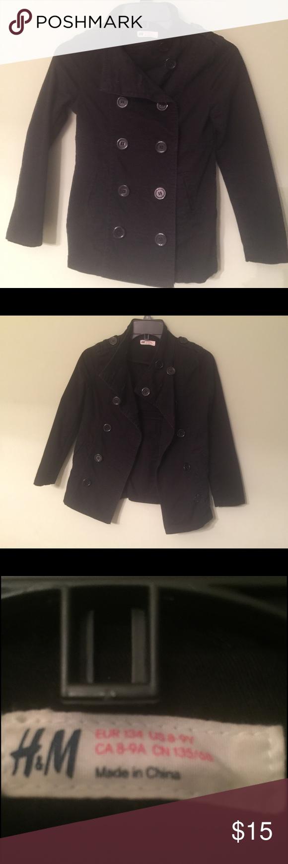Girls black jacket Girls H&M black jacket. 98% Cotton 2%Elastane. Size 8-9 H&M Jackets & Coats