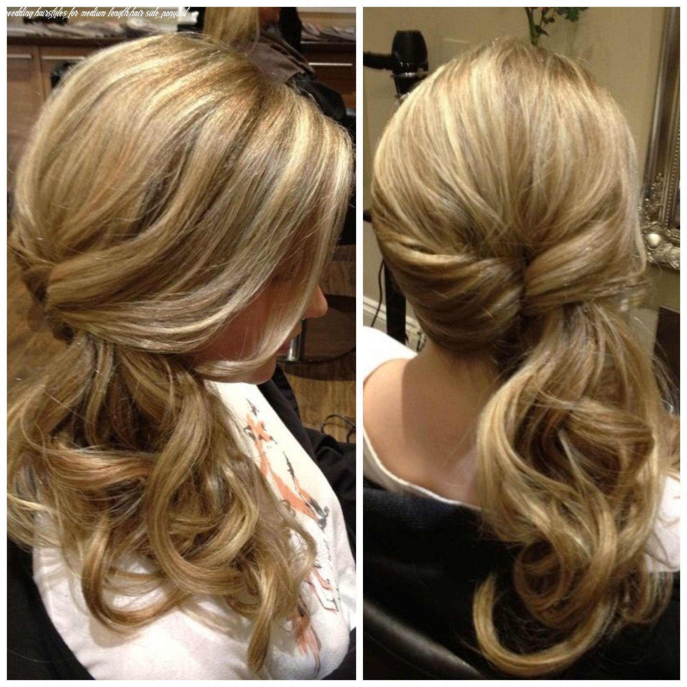 8 Wedding Hairstyles For Medium Length Hair Side Ponytail In 2020 Side Ponytail Hairstyles Twist Ponytail Bridesmaid Ponytail