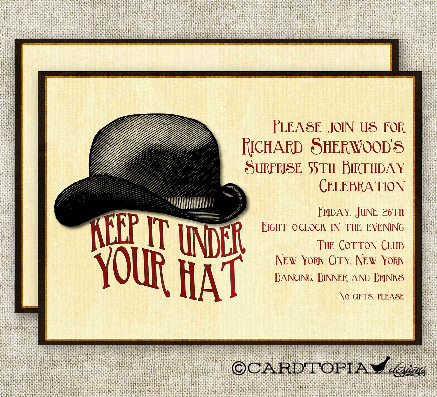Surprise birthday party invitations vintage bowler hat digital diy surprise birthday party invitations vintage bowler hat digital diy printable personalized 93975551 1400 stopboris Images