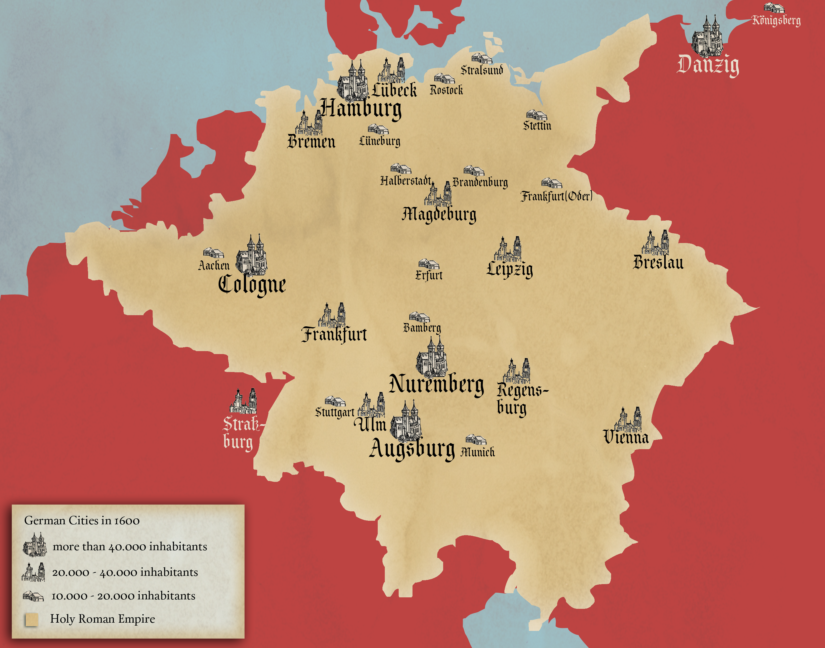 Largest German Cities in 1600 | Geschiedenis!! | Map, Historical ...
