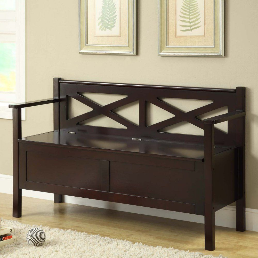 Monarch X Back Wood Storage Bench Cappuccino Indoor Benches At Hayneedle Home Improvement