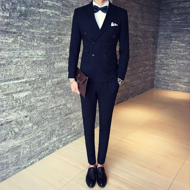 Goedkope Double Breasted Mannen Pakken 2017 Nieuwe Mode Zwarte Business  Wedding Suits Bruidegom Smoking Slim Fit Pak Hot Voor Mannen Kostuum Homme,  ...