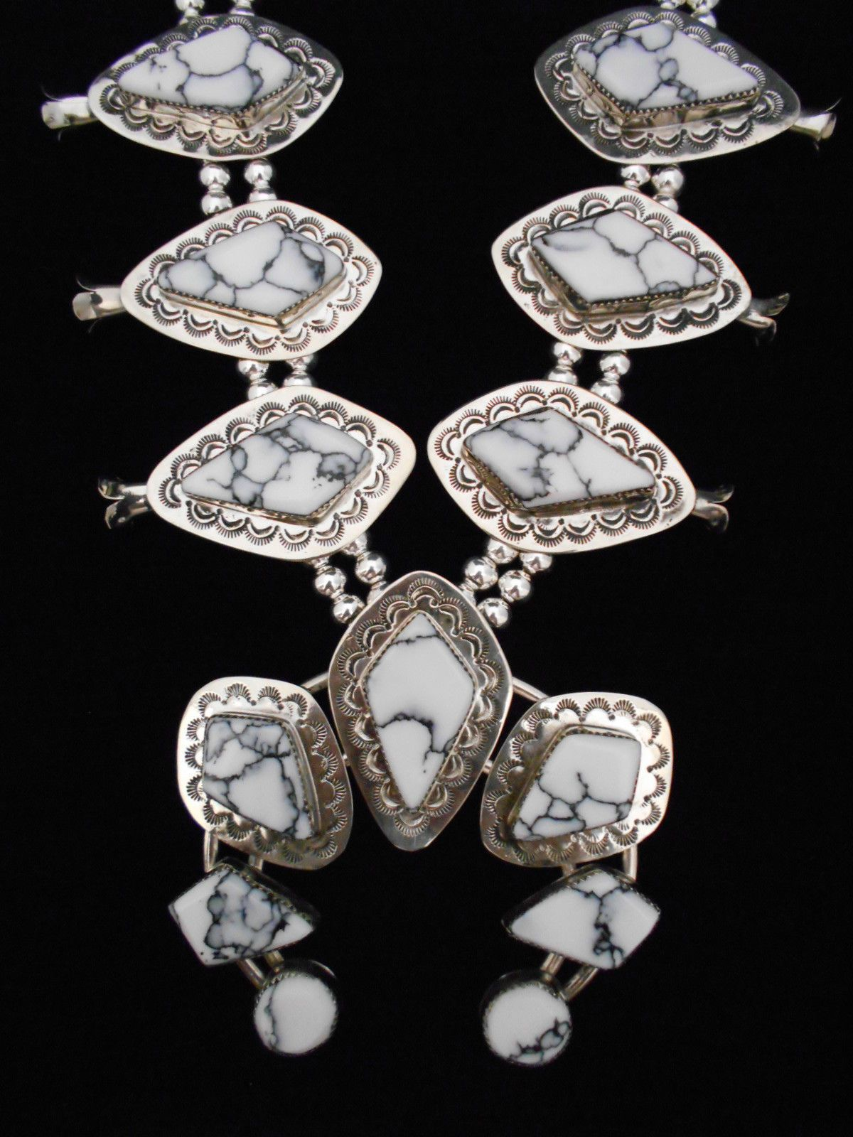 Navajo Silver And White Buffalo Turquoise Squash Blossom Necklace Signed Z 570 Ebay