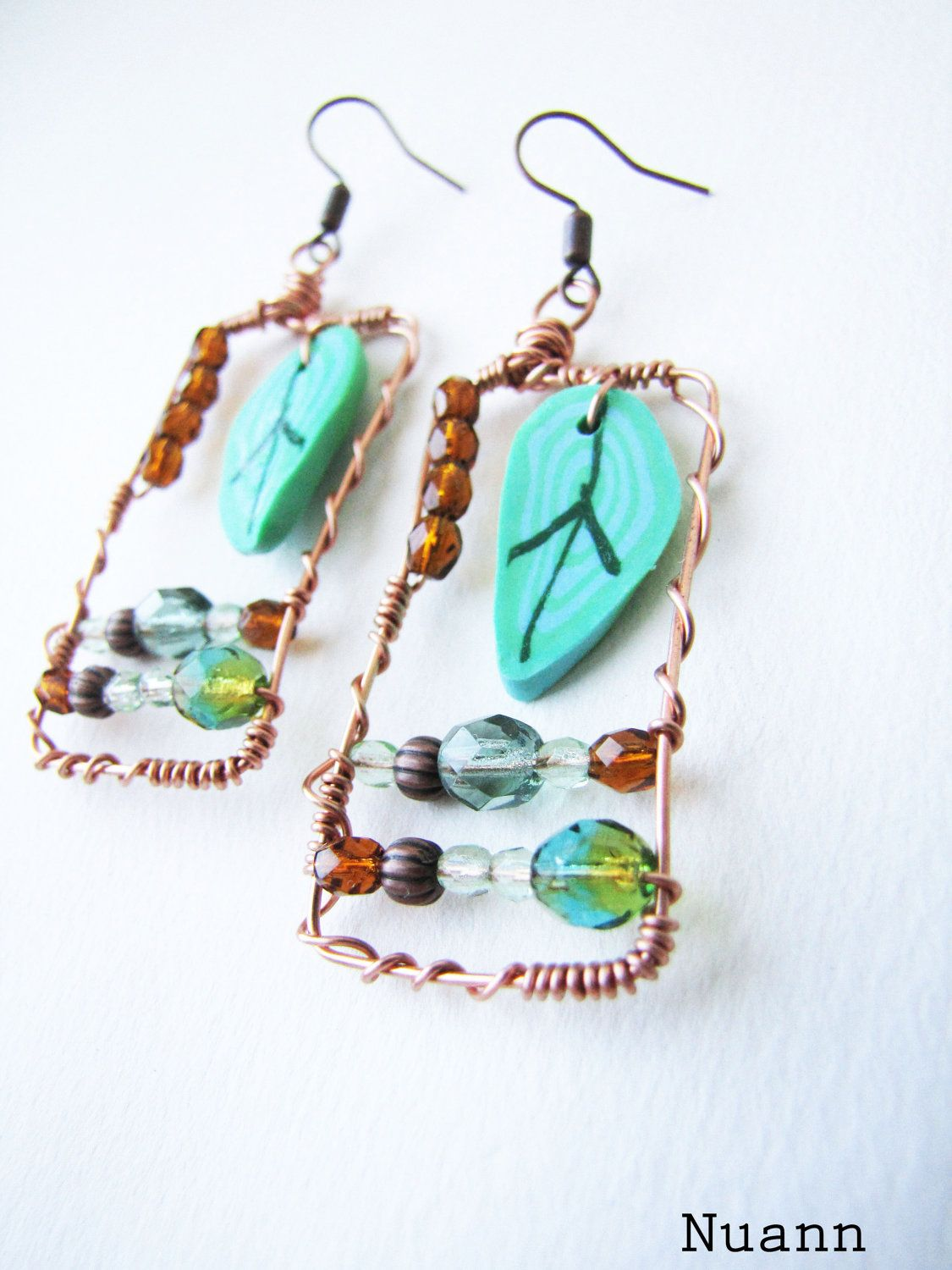 Wire wrapped copper earrings with mint polymer clay leaf and brown ...
