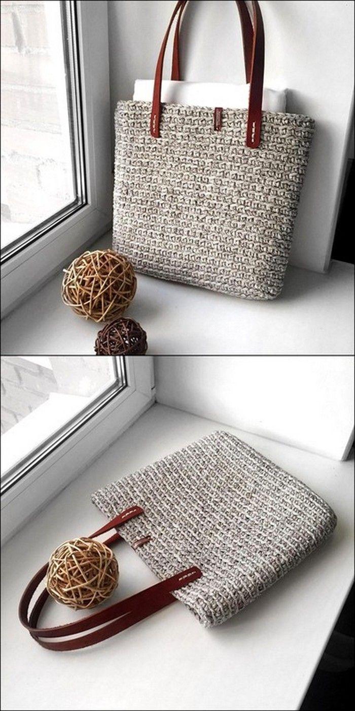 Gehäkelte graue Farbe Handtasche Outfit #crochethandbags