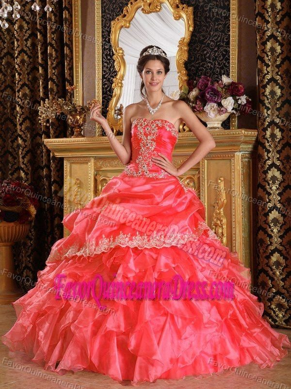 25438d8ae08 Watermelon Strapless Organza New Quinceanera Gown with Appliques ...