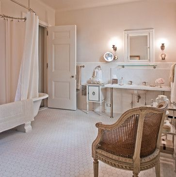 Original off white 2x2 ceramic hex tile on floor for Bathroom design 2x2