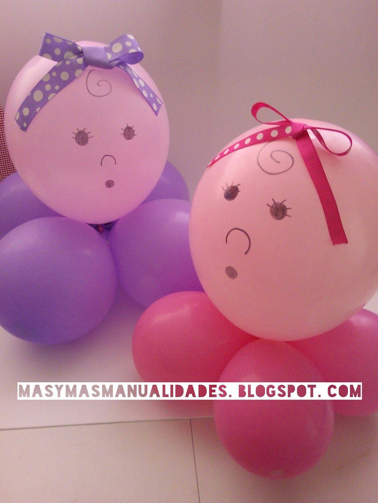 Mas Y Mas Manualidades Centros De Mesa Para Baby Shower Con 5 Globos Centro De Mesa Con Globos Globos Decoraciones De Fiestas Para Bebes