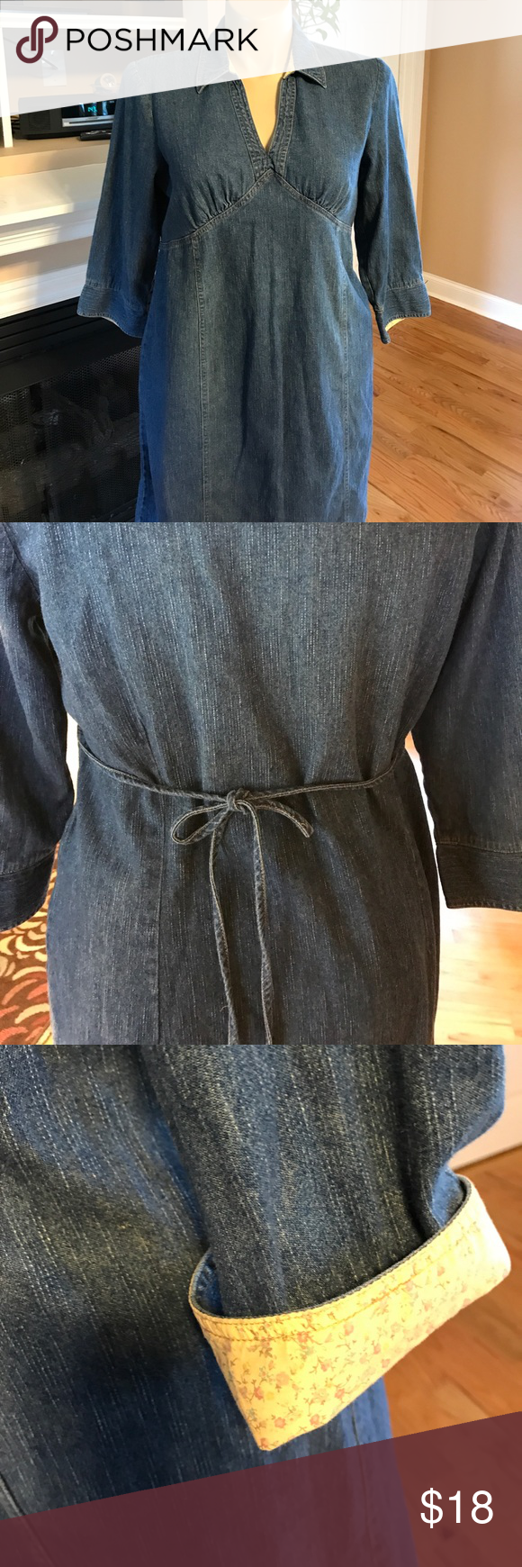Motherhood Maternity Dress Size large denim maternity dress. Ties in the back. Contrasting color in the cuff. Motherhood Maternity Dresses