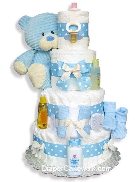 f2859b9e7919 Corduroy Blue Teddy Diaper Cake in 2019