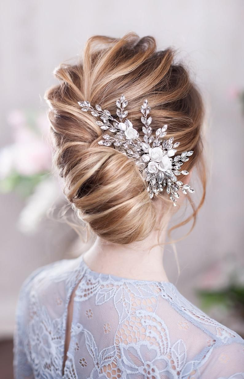 Bridal Hairpiece Crystal Hair Comb Wedding Headpiece Crystal Etsy In 2020 Floral Hair Combs Wedding Hair Pieces Bridal Hair Comb