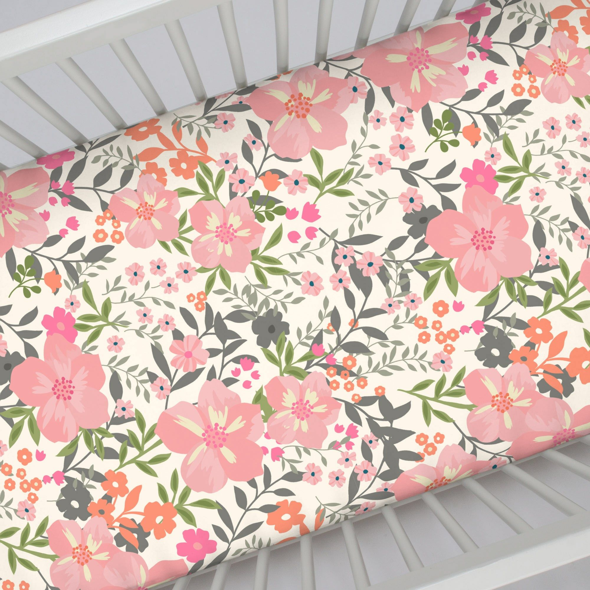 teal designs carousel crib and large fitted coral sheet floral cribs