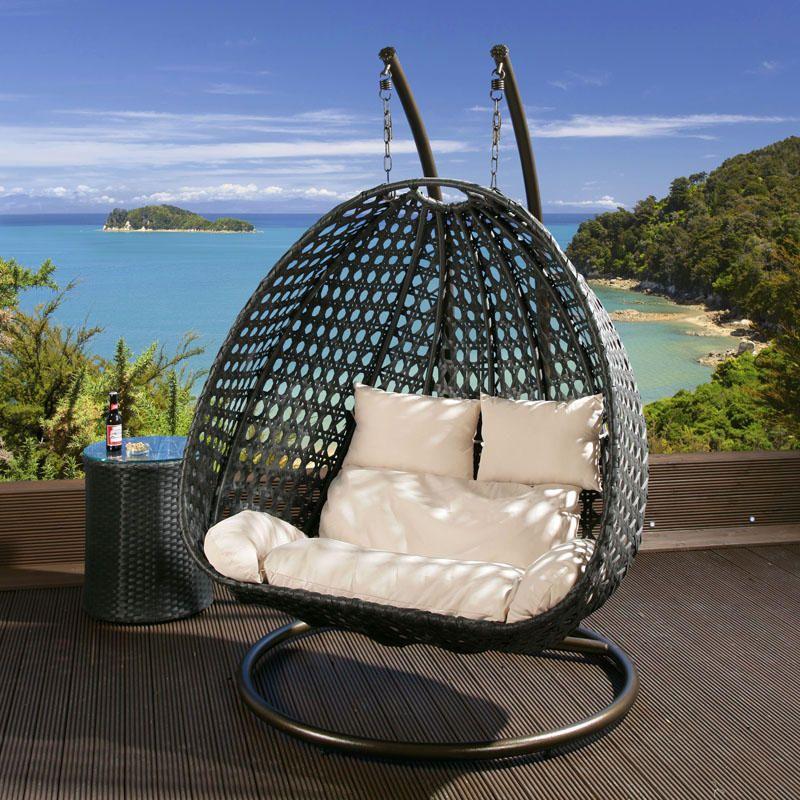 2 Seater Garden Swing Hanging Chair Black Rattan Cream Cushion
