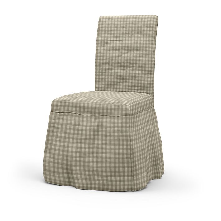 Henriksdal, Chair Covers, Chairs, Loose Fit Country using the fabric Vreta Gingham Check  Beige/White