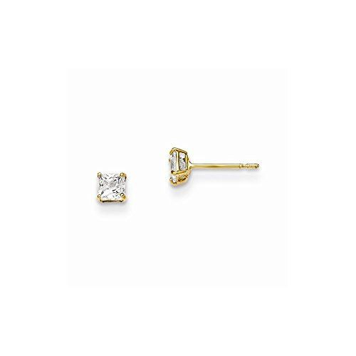 Synthetic Cz Circle Post Earrings 14k Yellow Gold Madi K