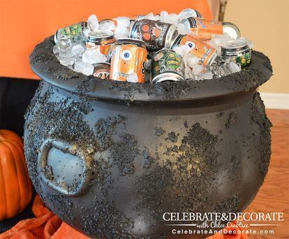 create a creepy looking cauldron from a plastic one, crafts - create halloween decorations