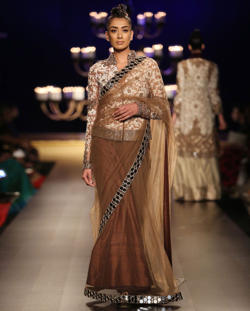 Lehenga blouse design in golden color and mirror work - Brown Mirror Work Sari With Embroidered Blouse By Manish Malhotra India Couture Week 2014