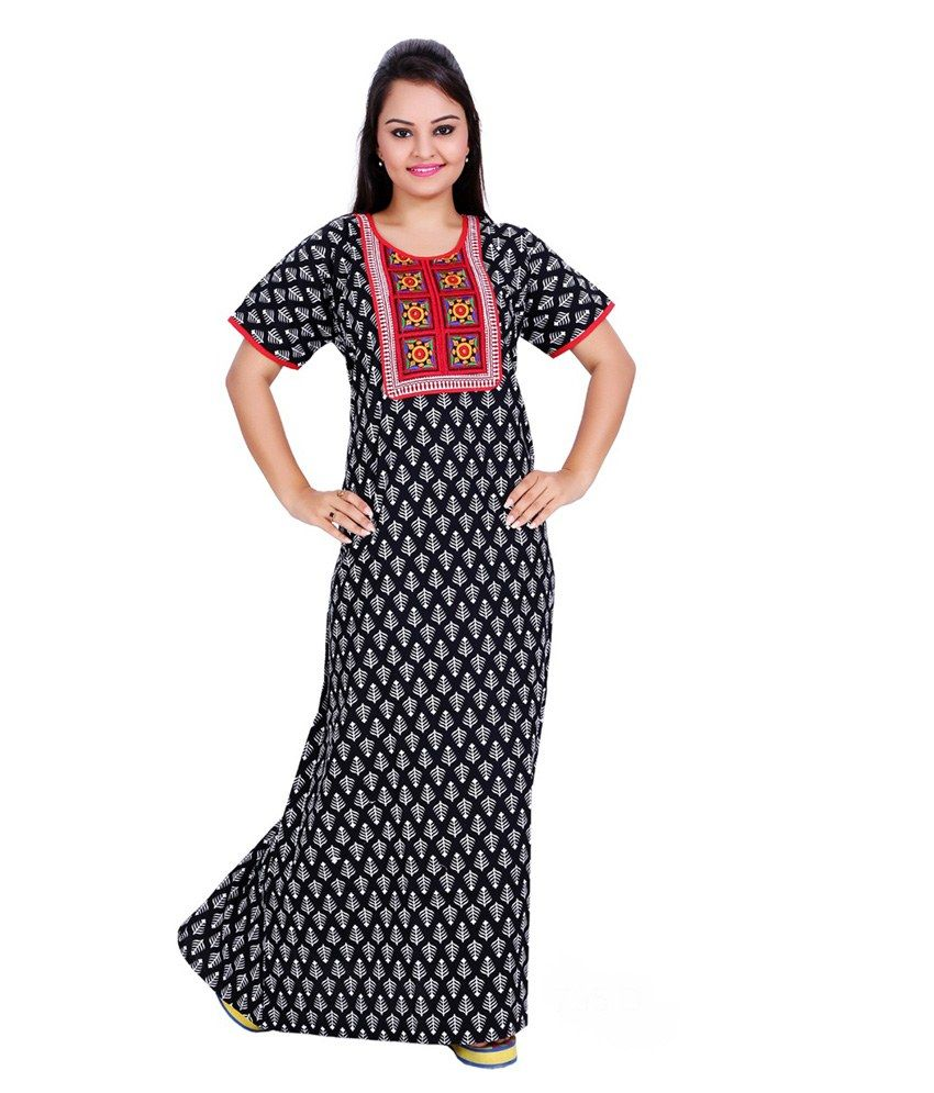 a605458d45 Satynam Black Cotton Printed Nighty Online | Buy Satynam Sleepwear India. Online  Shopping India - Shop Online for Women'