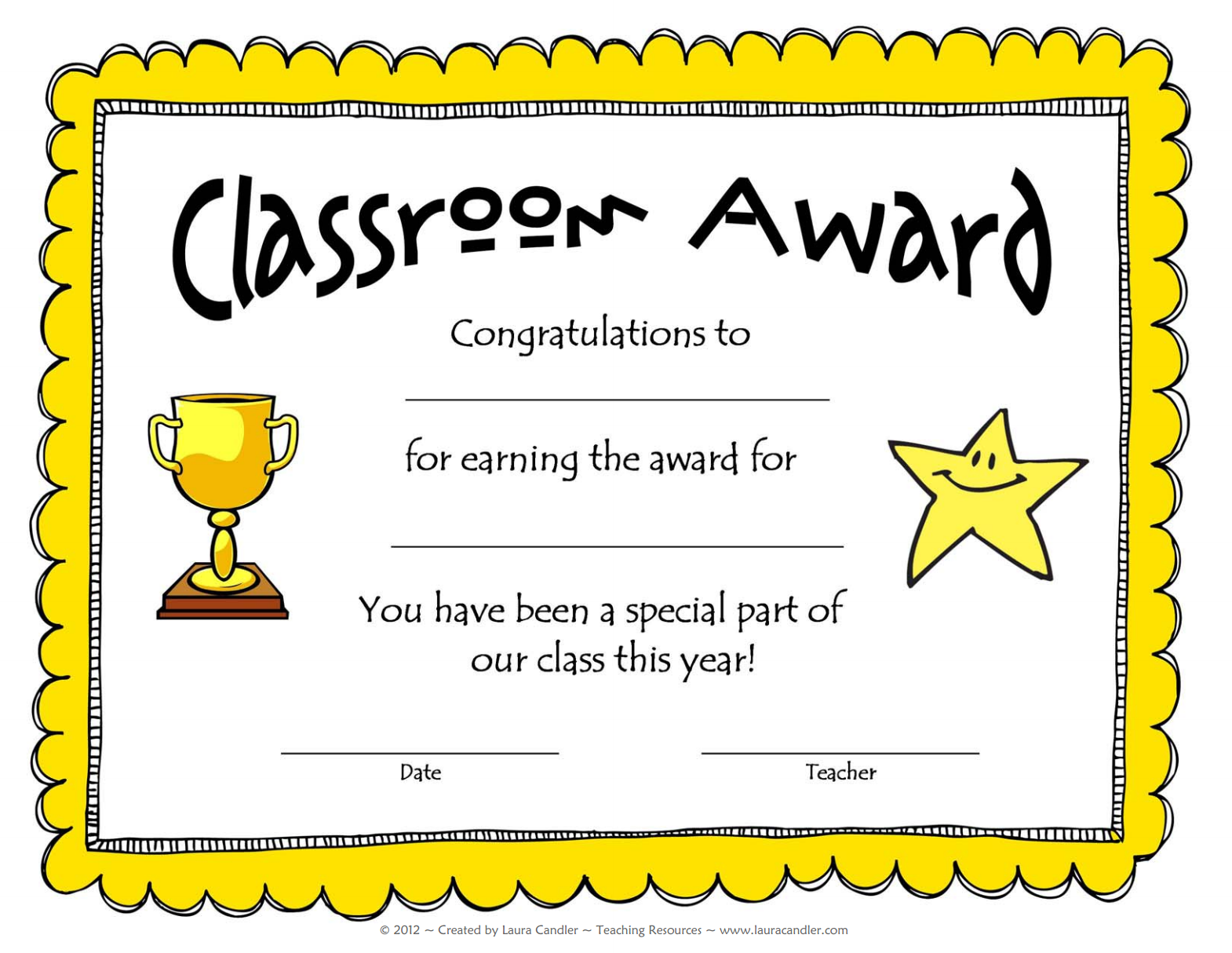 Free Award Template From Laura Candler