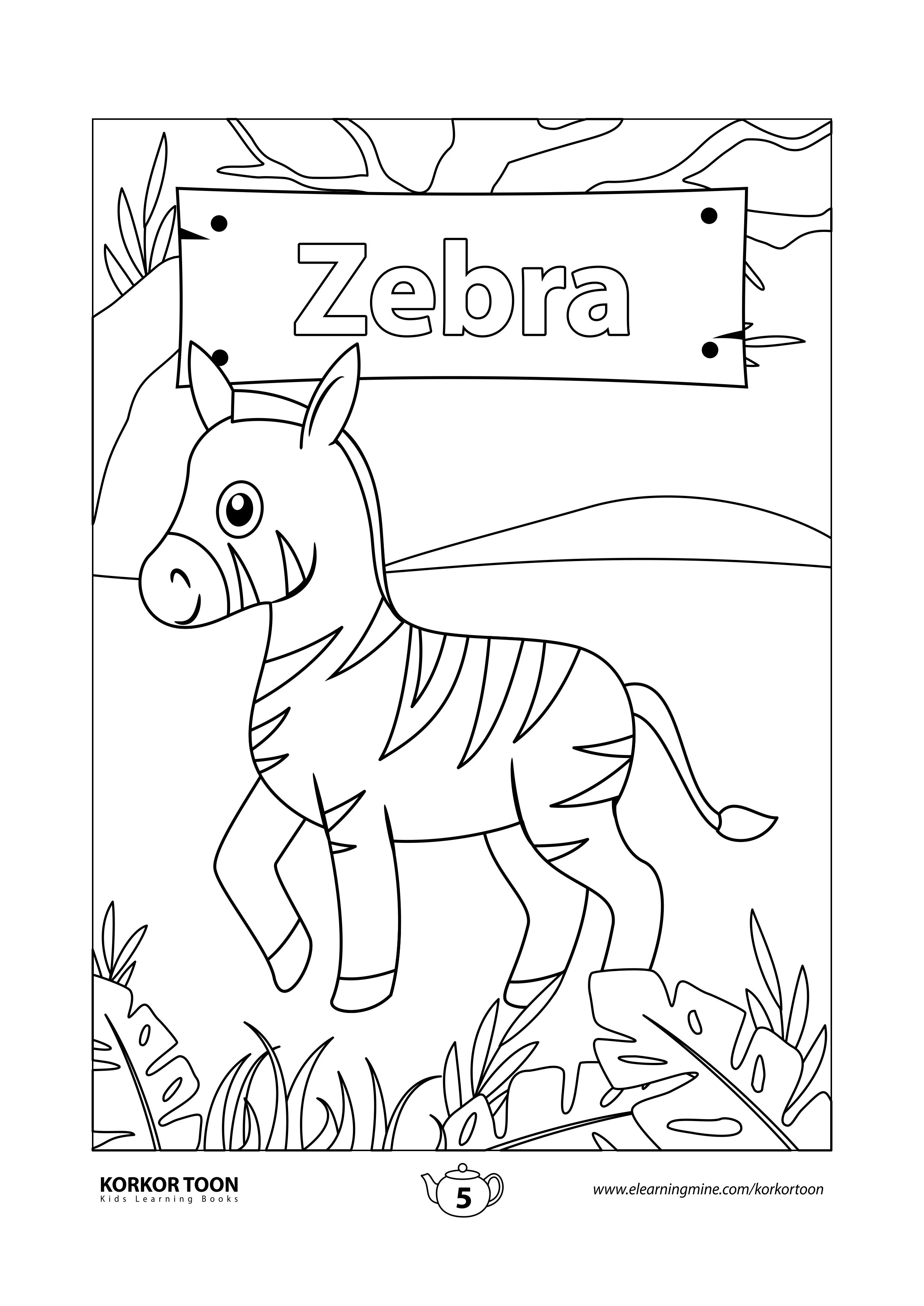 Jungle Animals Coloring Book For Kids Zebra Coloring Page In 2021 Zebra Coloring Pages Coloring Books Animal Coloring Books