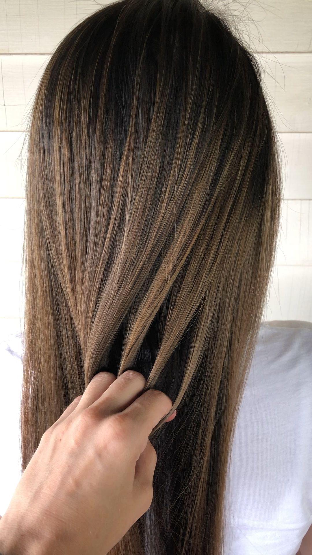 Photo of Natural ash blonde balayage on dark brown hair
