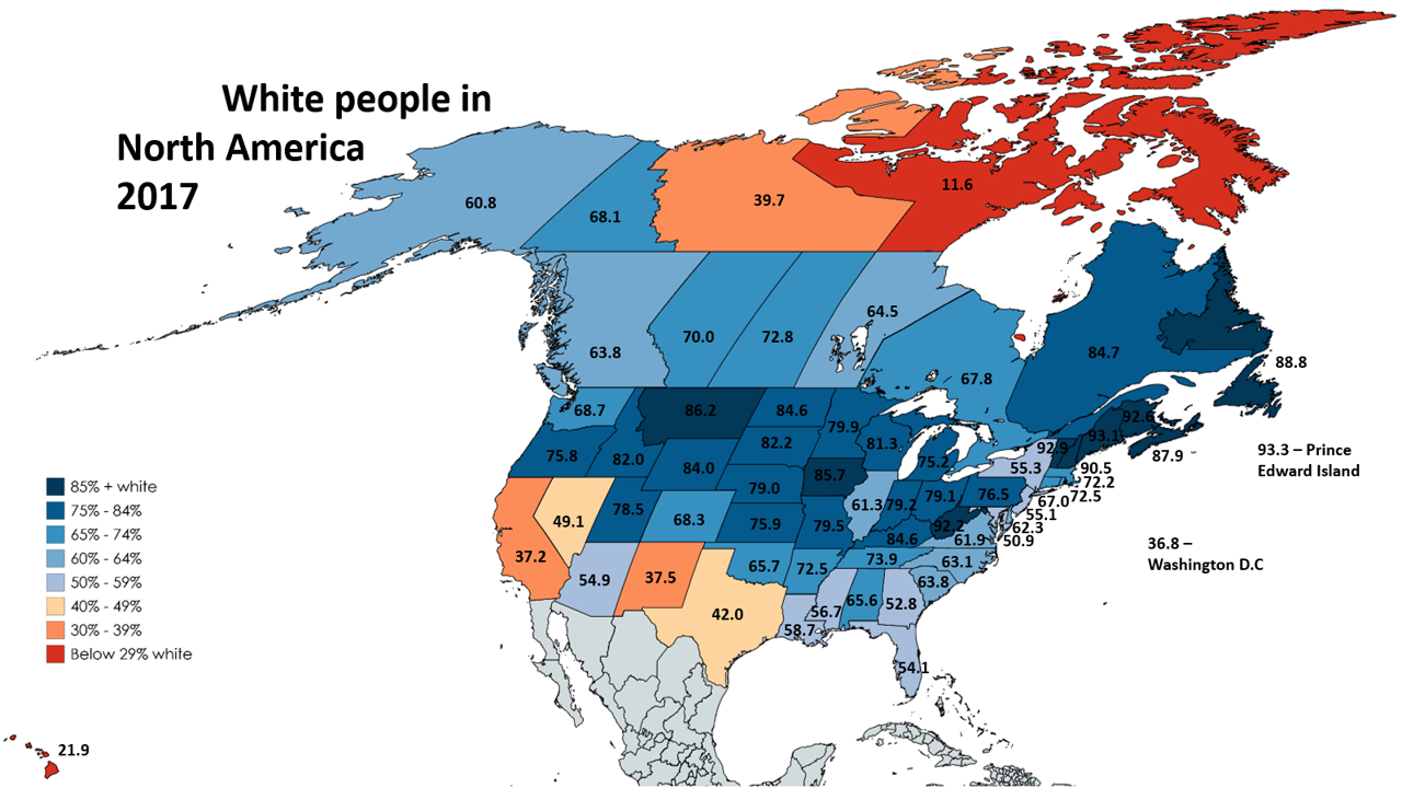 Map Of America 2017.White People In North America 2017 Map North America America