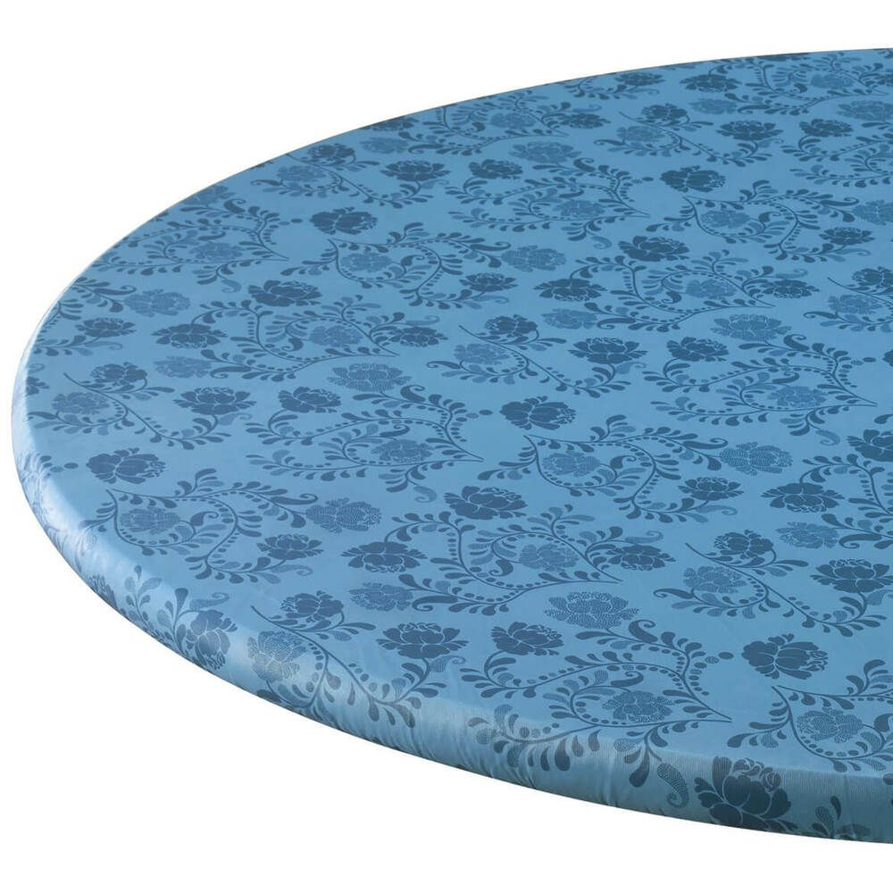 Details About Round Elasticized Table Cover Damask Blue Floral Fitted Vinyl Tablecloth 40 44 Vinyl Table Covers Table Covers Vinyl Tablecloth