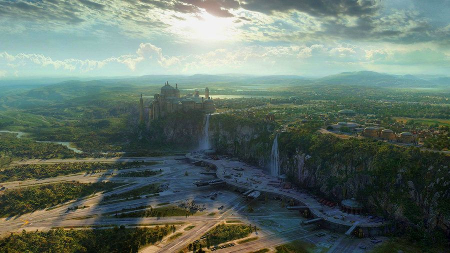 Star Wars Landscape By Calengklik Deviantart Com On Deviantart Futuristic City Fantasy Landscape Scenery Wallpaper