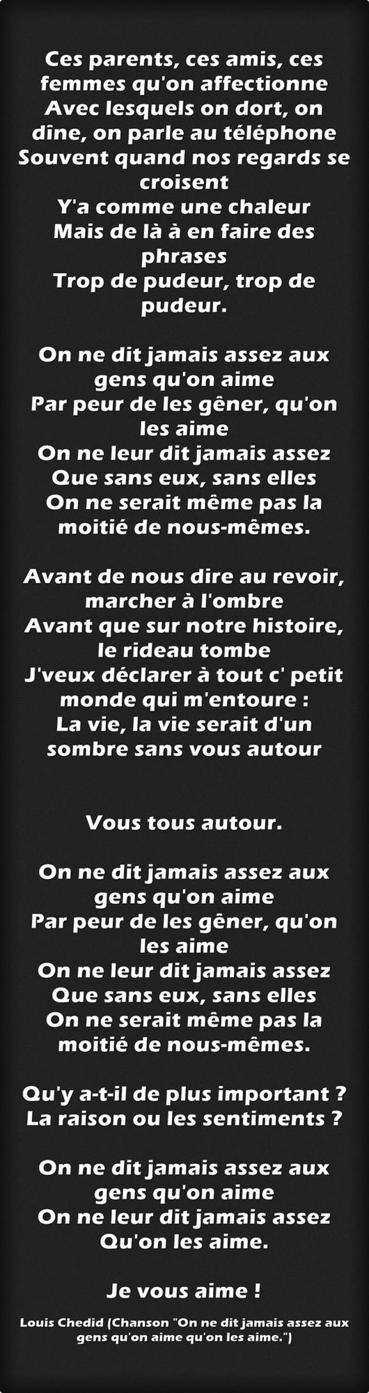 Louis Chedid - On ne dit jamais assez aux gens qu'on aime