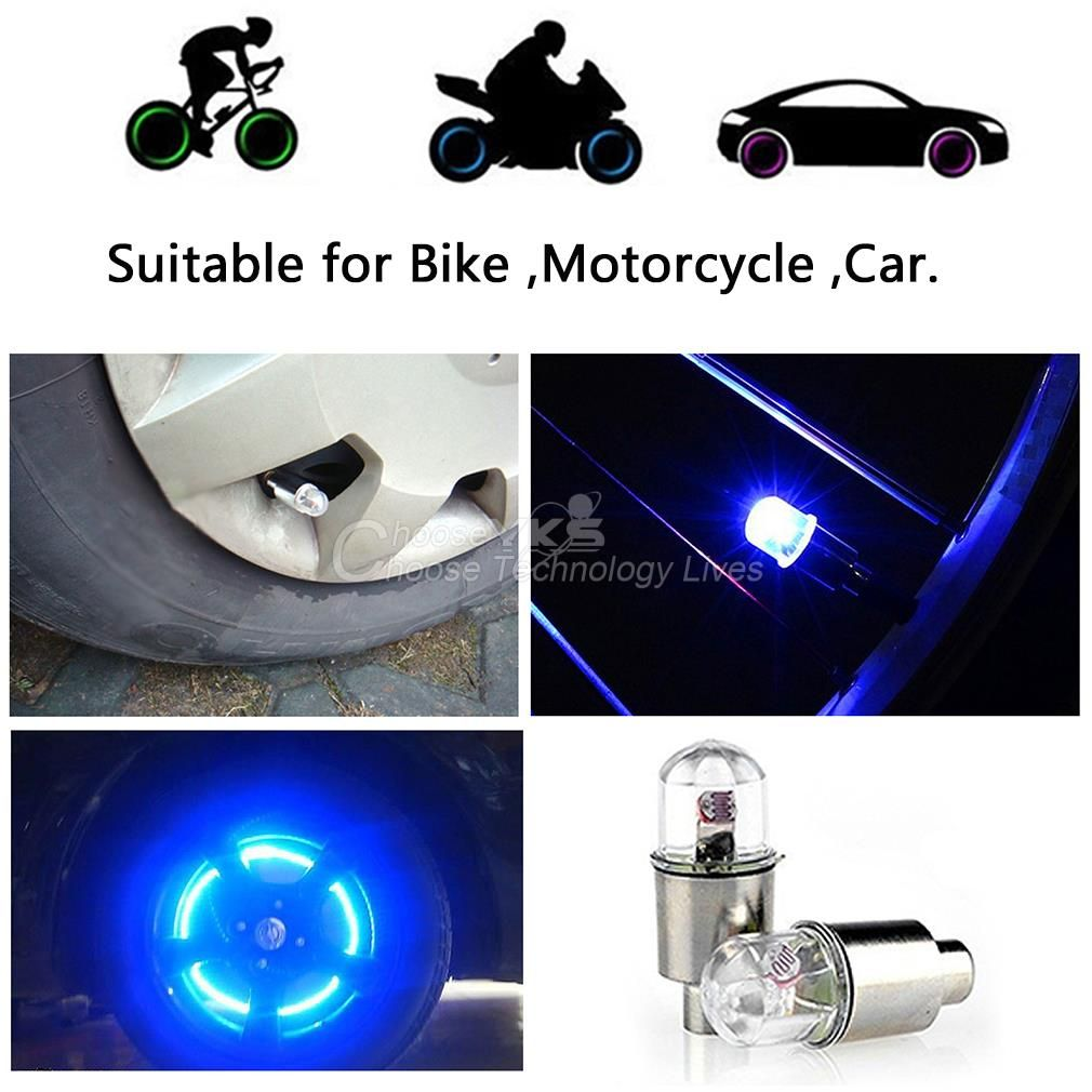 Bike Bicycle Car Motorcycle Wheel Tire Valve Stem Cap Neon LED Lights Lamp LOT