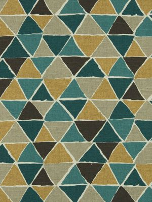 Teal Yellow Upholstery Fabric Geometric Fabric By The Yard