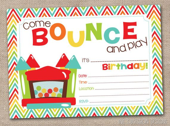 Bouncy Castle Instant Download Birthday Party Invitation Rainbow Bounce House Kids P Bounce House Birthday Birthday Invitations Kids Birthday Party Invitations