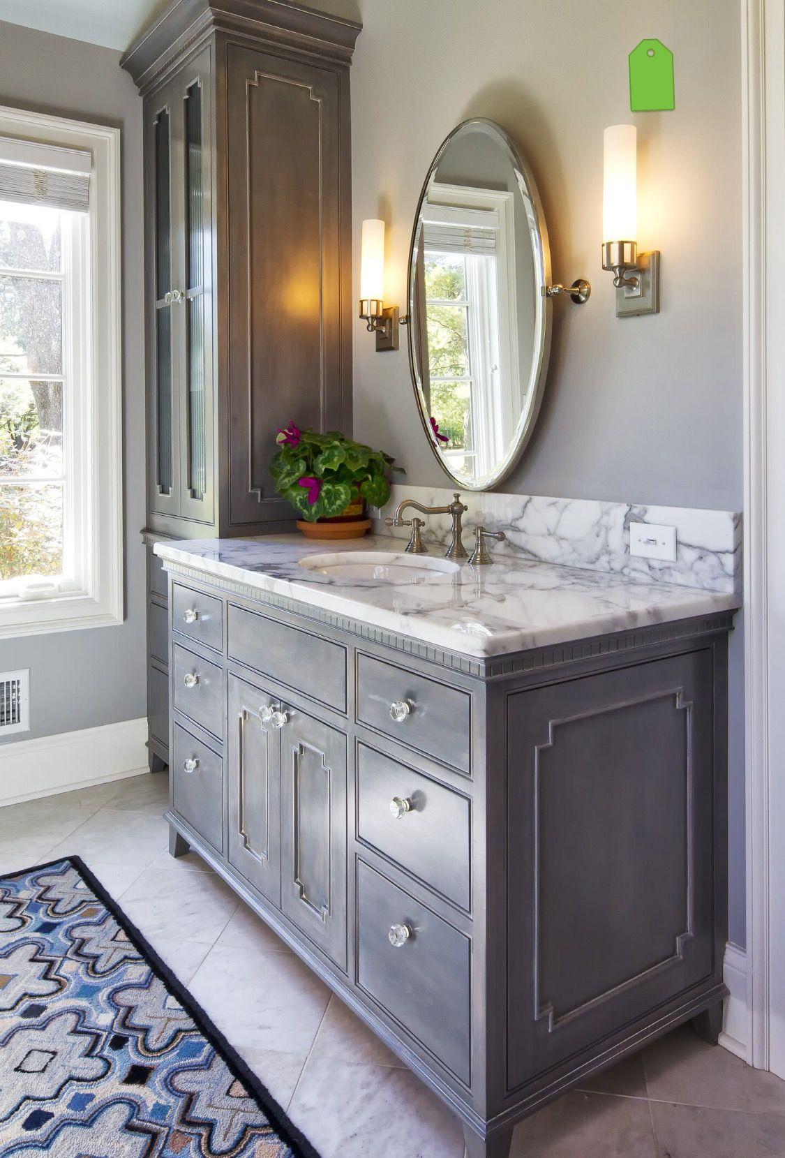 Distressed Greige Cabinetry Bathroom Vanity Designs Grey Bathrooms Bathroom Cabinets Designs