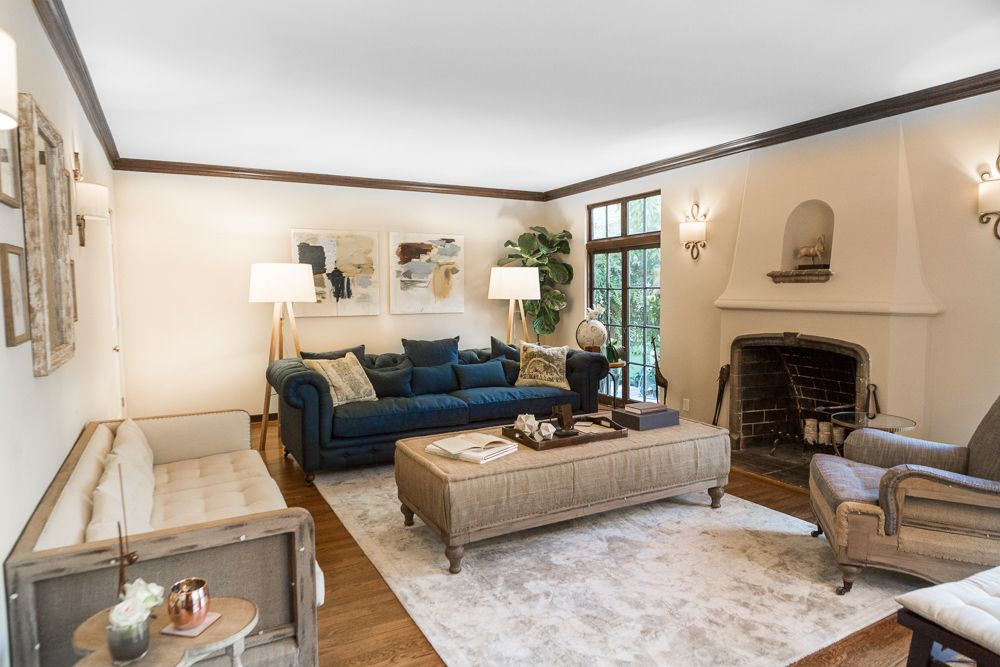 Transitional Tudor Living Room. Susie Novak Styling and Interiors. Photo by Patrick Posta.