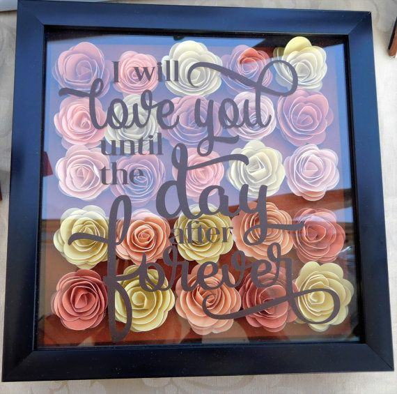 Handmade Rolled Paper Flower Shadow Box Arts Crafts Pinte