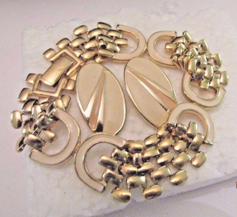 Vintage link cream enamel gold bracelet u earrings set carrieus