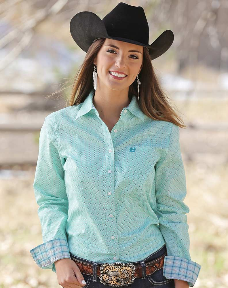 9efb3a9a Cinch Women's Long Sleeve Print Button Down Shirt - Turquoise - Medium
