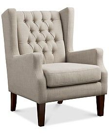 Furniture Adelyn Button Tufted Wing Back Chair Quick Ship