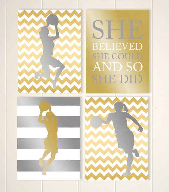 Gold and silver girls room art, basketball girls wall art, faux foil ...