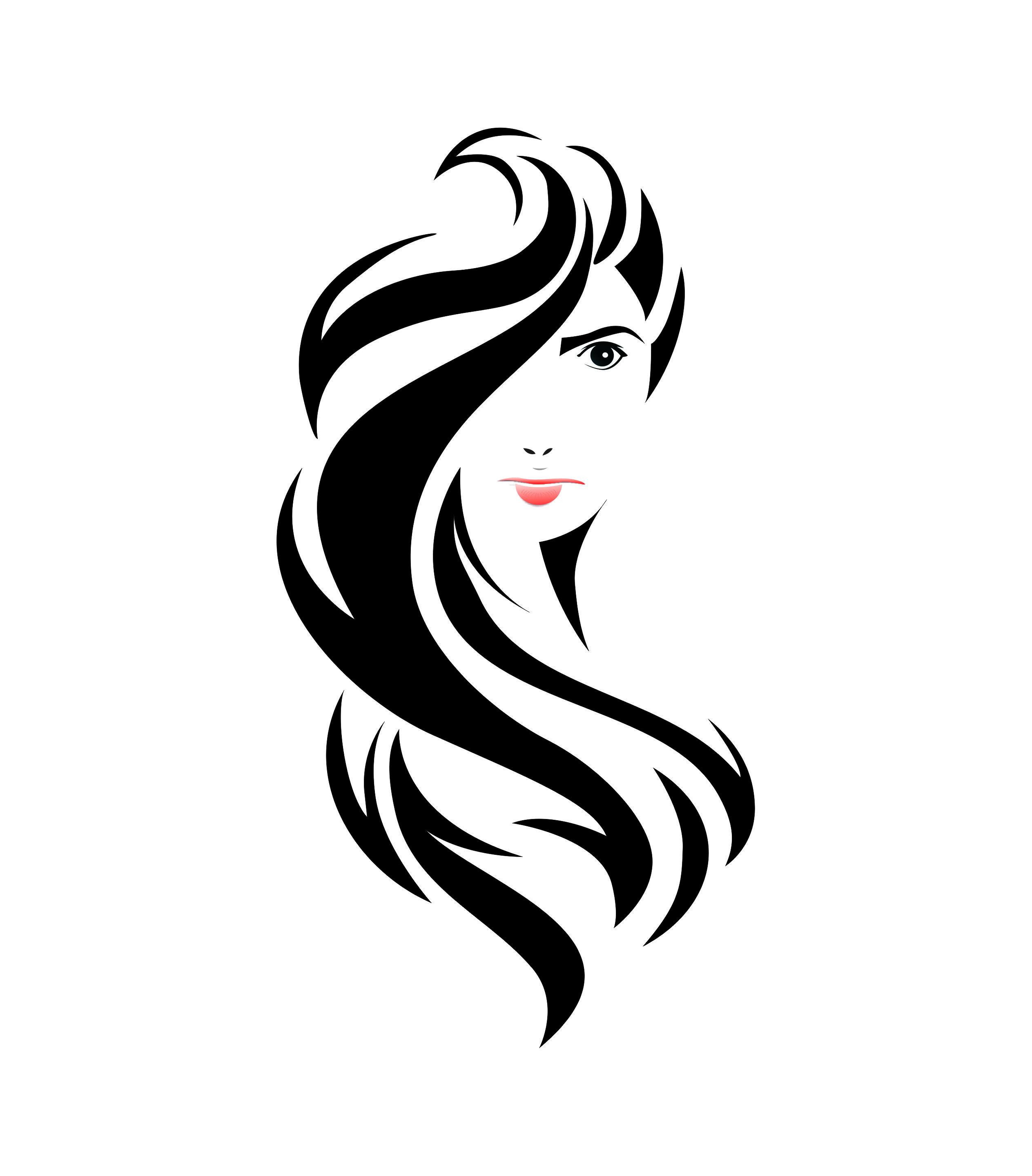 Woman Logo Woman Hair Style Hair Style Clip Art Black And Long Hair Long Hair Designs Amazing Art Womens Hairstyles