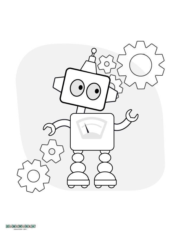 Robot Coloring Page Printable