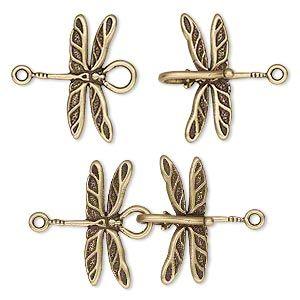 Clasp, JBB Findings, hook-and-eye, antiqued brass, 32x21.5mm dragonflies. Sold individually.